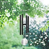 Hollow Aluminum Tuned Wind Chime, Pathonor Large Alloy Grace Musical Wind Chimes Bells Crafts 31 Inch Wooden Pendulum Loop Deliver Gentle, Relaxing Tones for Outdoor Garden and Home Decor Gift(Black)