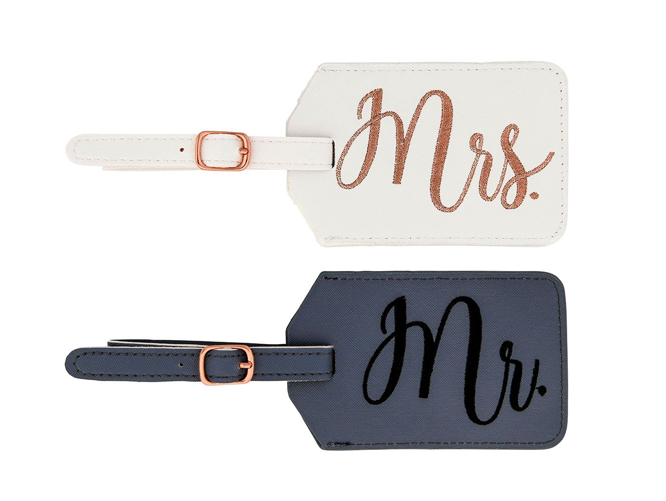 Miamica Mr. and Mrs. Bridal Luggage Tags, Gray and White