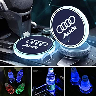 OSIRCAT LED Car Cup Holder Lights for Audi Accessories,7 Colors Changing USB Charging Mat Luminescent Cup Pad,LED Interior Atmosphere Lamp 2PCS: Automotive