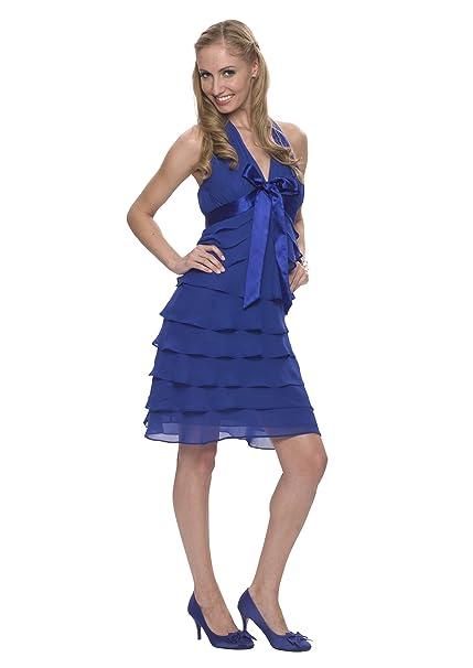 Astrapahl - Vestido de fiesta hasta la rodilla, estilo cóctel de mujer, color azul