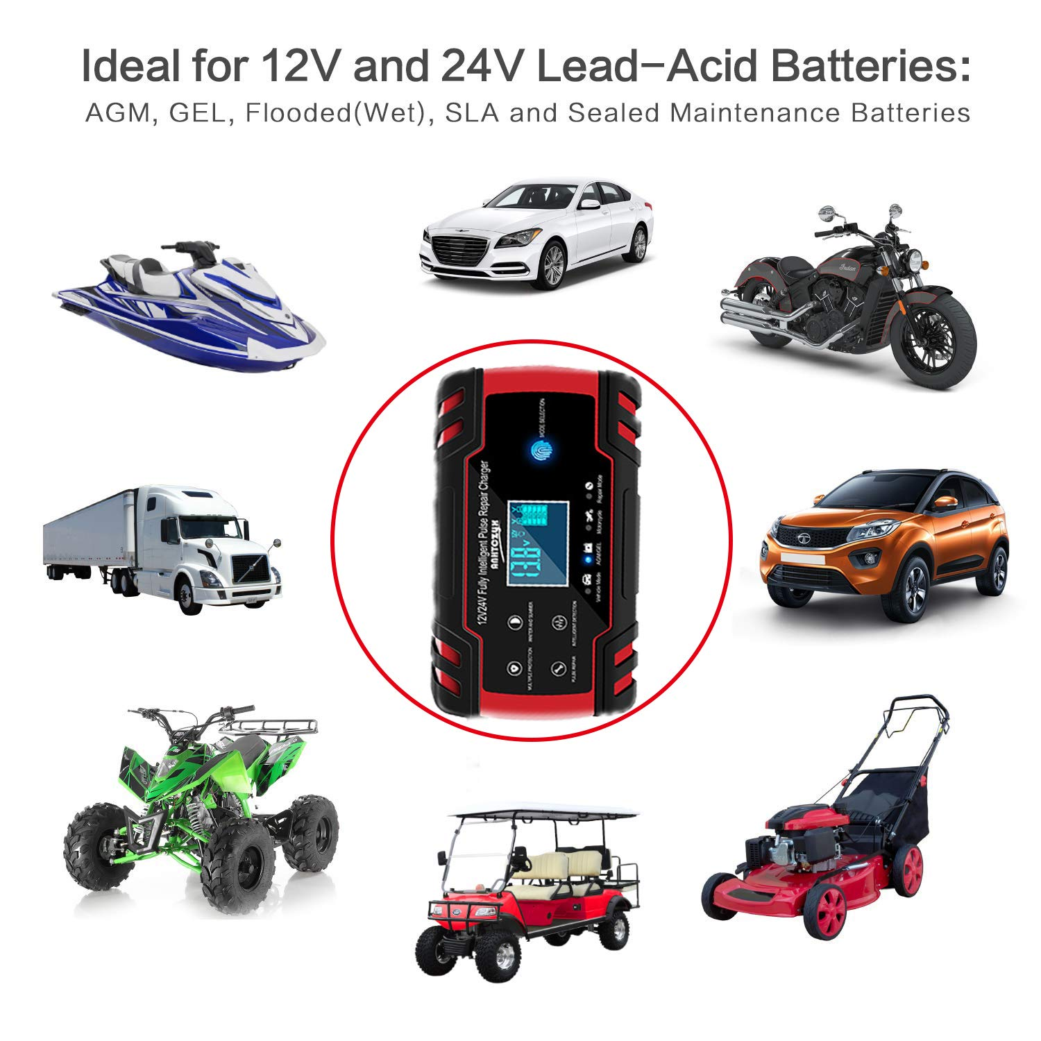 12V//24V 8Amp Intelligent Automatic Battery Charger//Maintainer Delivers 3 Stage Charging with LCD Screen And have 6 Charging Mode Suitable for More Types of Batteries BUDDYGO Car Battery Charger
