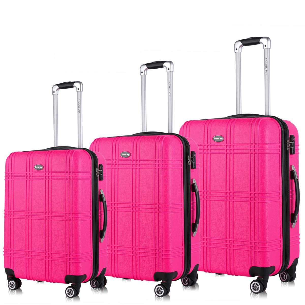 Expandable Spinner Luggage Set,TSA lightweight Hardside Luggage Sets, 20'' 24''28 inches Carry On Luggage (HOT PINK1, 3-piece)
