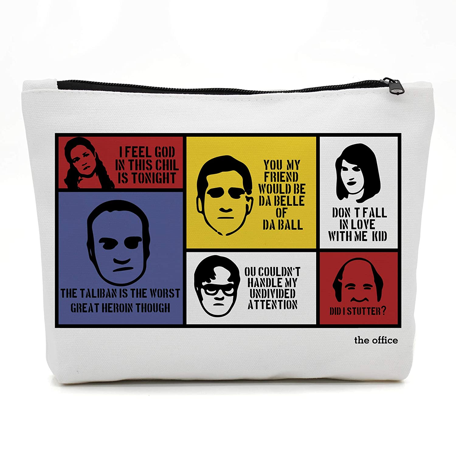 Funny The Office TV Show Theme Natural Cotton Makeup Bag   Zippered Luggage Pouch Multifunction Make-up Small Bag For Mom Wife Friend Sister Colleague Coworker Women Kids Gift