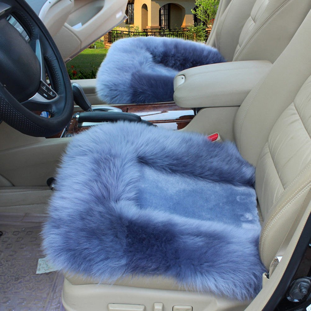 Pale Mauve Universal Wool Soft Warm Fuzzy Auto Car Seat Covers Front Rear Cover Car Cushion Chair Pad