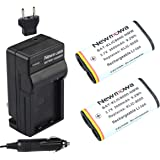 Newmowa KLIC8000 Replacement Battery (2-Pack) and Charger kit for Kodak Z1012 is, Z1015 is, Z1085 is Z1485 is, Z612, Z712 is, Z812 is, Z8612 is