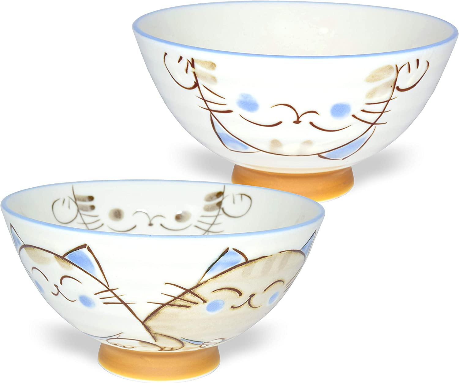 Japanese Handcrafted Rice Bowl, Authentic Mino Ware Pottery, Calico Cat Motif Design, MIKE Blue Chawan, set of 2
