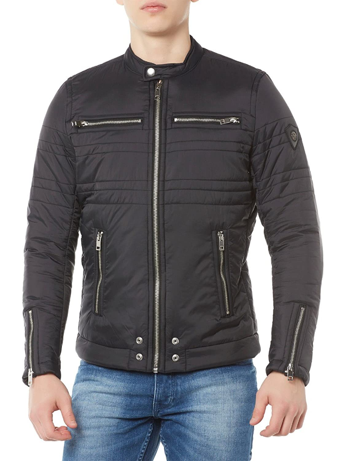 DIESEL - Jackets - Men - Black Biker Never Zipped Padded Jacket for men