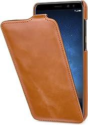 StilGut UltraSlim Case, custodia per Huawei Mate 10 Lite flip case custodia verticale in vera pelle pregiata, Cognac