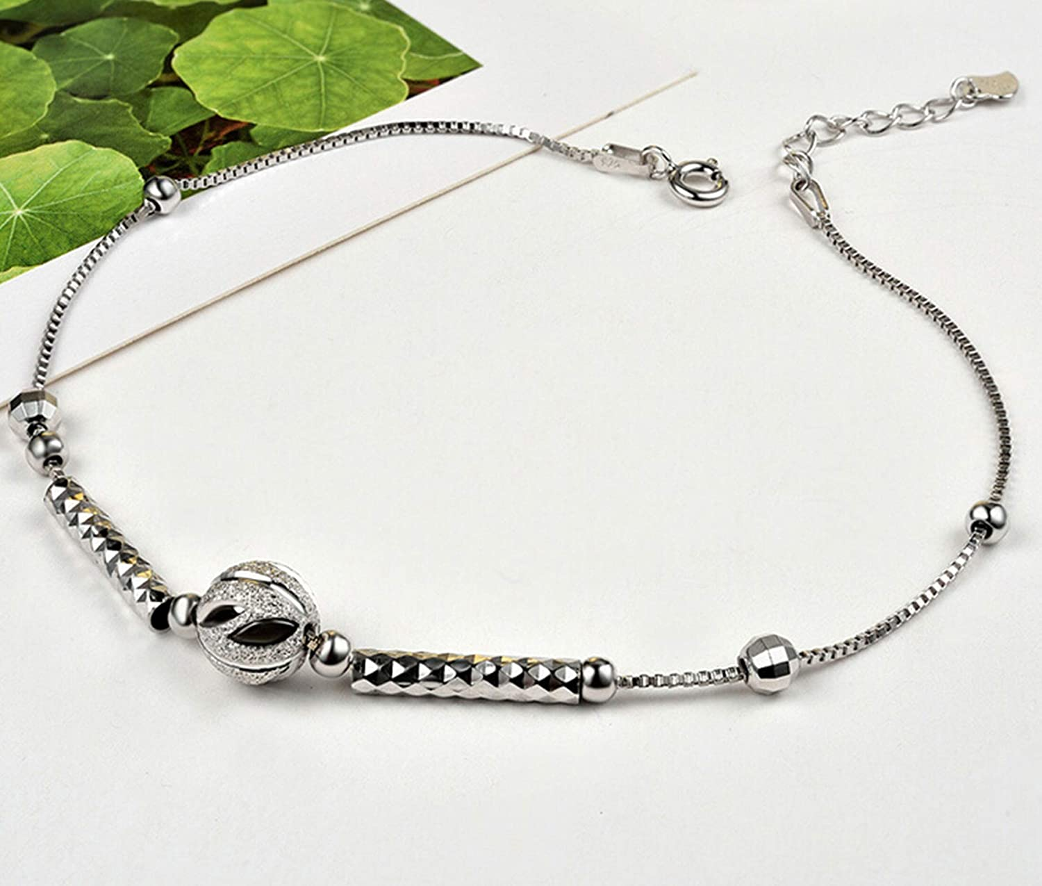 AMDXD Jewelry Anklet Silver Sterling Silver Ball Ankle Chain Women 24CM