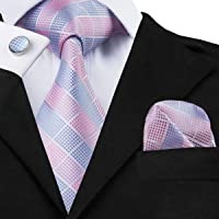 Hi-Tie Mens Pink Plaid Checks Jacquard Woven Silk Tie Necktie Set