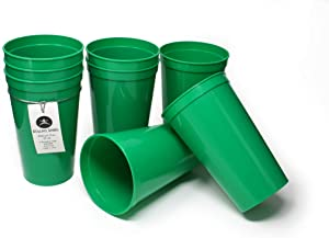 Rolling Sands 22 Ounce Reusable Plastic Stadium Cups Green, 8 Pack, Made in USA, BPA-Free Dishwasher Safe Plastic Tumblers