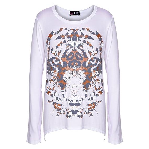 ff94e6c01 Amazon.com: Girls Top Kids Tiger Face Print T Shirt Tops & Fashion Legging  Set 7-13 Years: Clothing