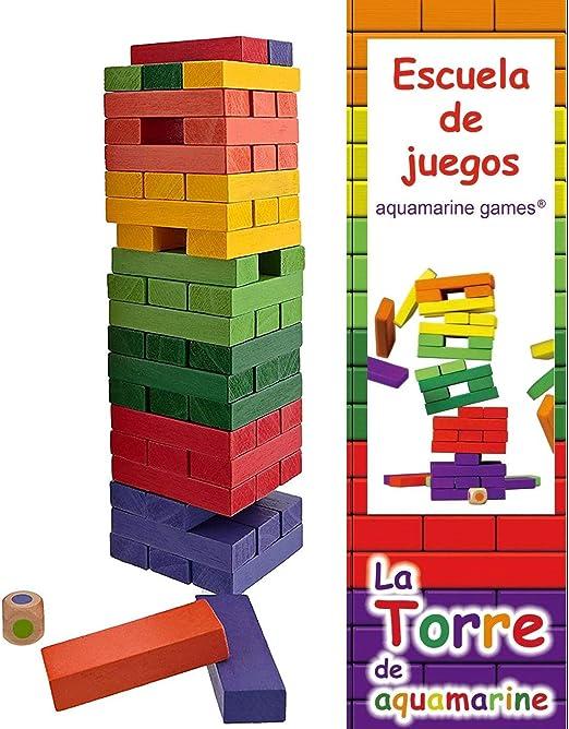 Juego La Torre de Colores XL Acuamarine Tamaño XL con Dado y 6 Colores Brillantes: Amazon.es: Juguetes y juegos