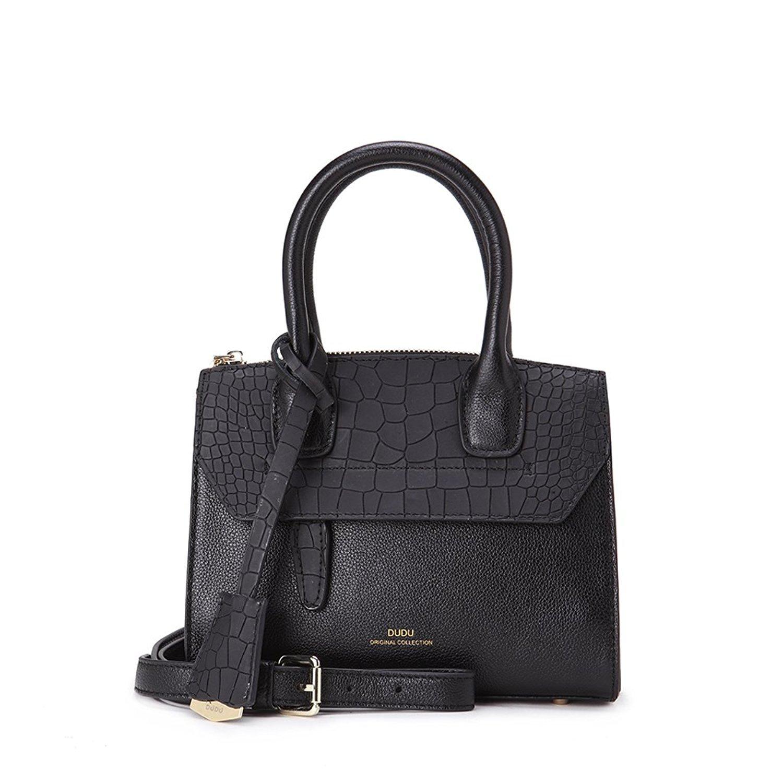 Black IUHA Fashionable Top Grain Leather The Modern Satchel Shoulder Bag 2Way Handbag Crossbody Bags Women