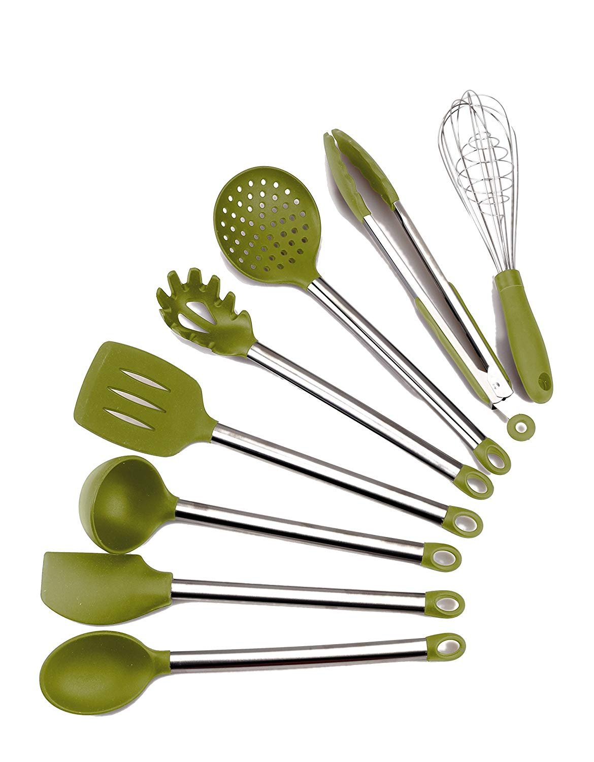 Kitchen Silicone Utensils Set | 8 Piece Silicone & Stainless Steel Cookware Cooking Baking Tools | HeatResistant Non Stick Scratch Resistant FDA Grade | Pasta Server, Spatula and More by Koamatpro