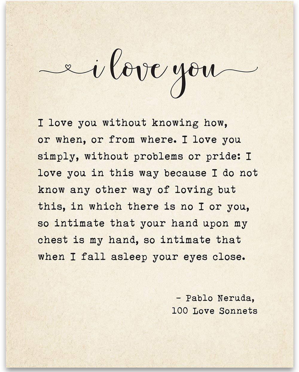 Amazoncom I Love You Sonnet Pablo Neruda Book Page