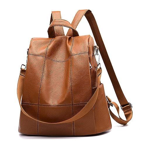 Tisdaini Donna Fashion PU Zaini antifurto in pelle casual borse da viaggio teenager commerciali medio Viola