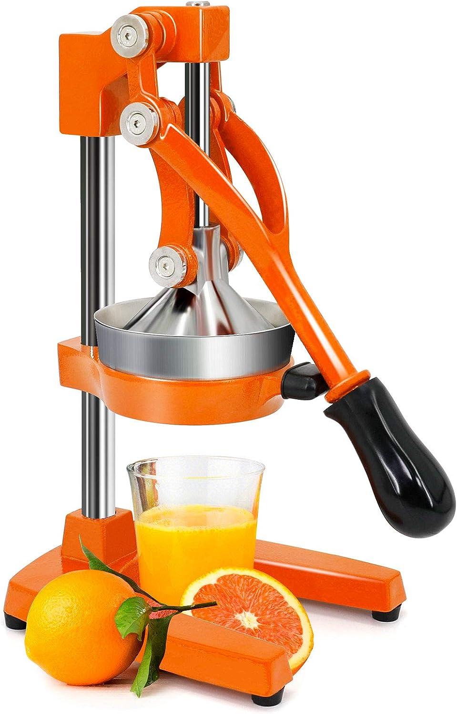 Jolitac Professional Citrus Juicer, Heavy Duty Cast Iron Lemon Lime Fruit Juicer Maker Press, Commercial Grade Manual Orange Juice Squeezer (Orange)