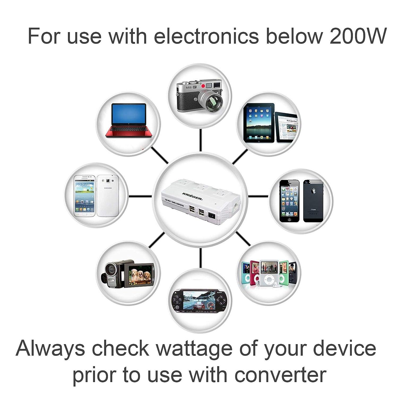 KRI/ËGER 200W United Kindom Input to USA Output Power Converter Step Down Voltage Transformer 220-240V to 110V Included 3 AC Outlets White 4 USB Charging Ports
