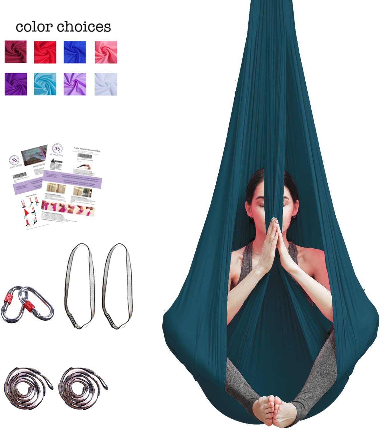 Aerial Yoga Hammock – Premium Aerial Silk Yoga Swing for Antigravity Yoga, Inversion Exercises, Improved Flexibility Core Strength – Extension Straps, Carabiners and Pose Guide Included
