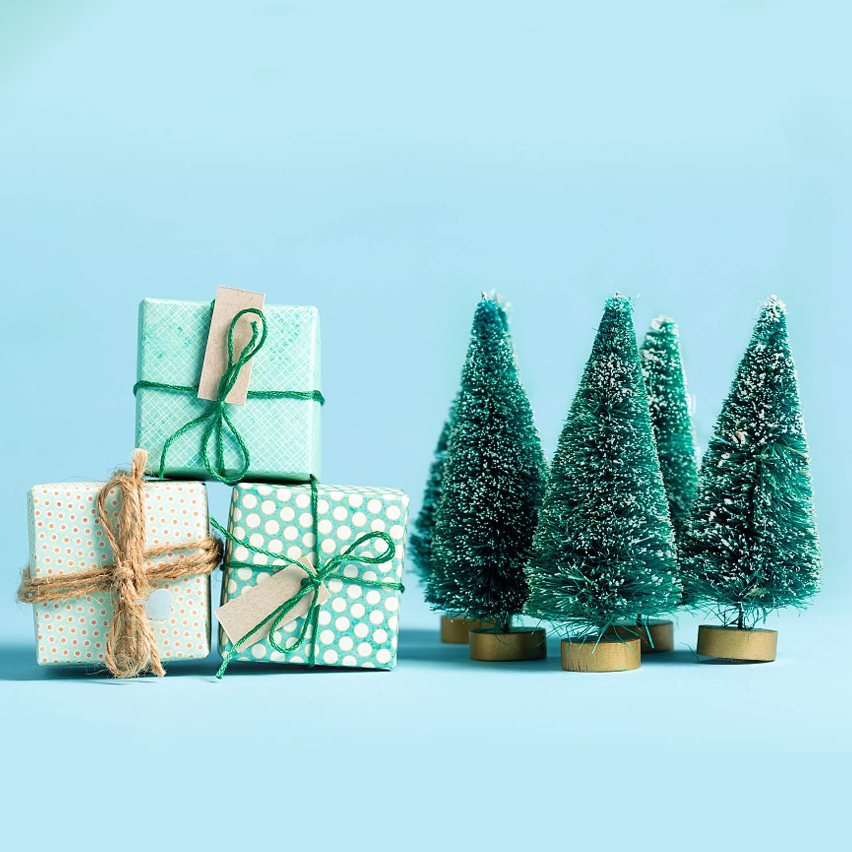 Amazon.com: 36PCS Artificial Sisal Mini Christmas Trees Pine Trees ...