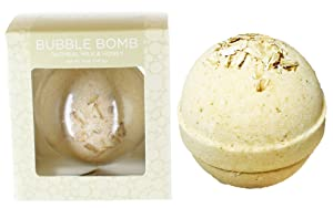 Oatmeal Milk & Honey Bubble Bath Bomb by Two Sisters Spa. Large 99% Natural Fizzy For Women, Teens and Kids. Moisturizes Dry Sensitive Skin. Releases Lush Color, Scent, and Bubbles. Handmade in USA
