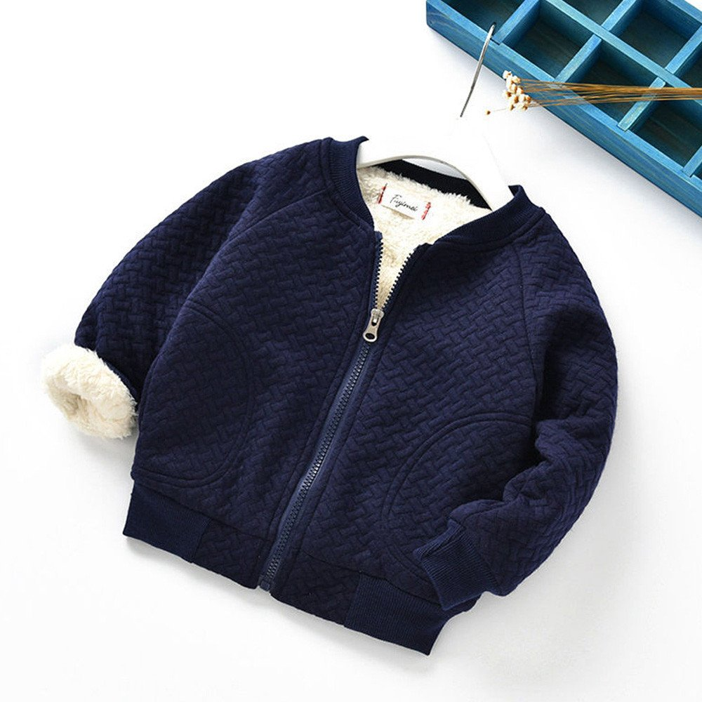 3fea35448 Amazon.com  FIged Baby Outwear Solid Zip Long Sleeves Warm Winter ...