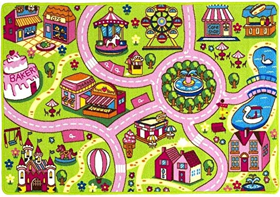 Mybecca Kids Rug 5 X 7 Colourful Fun Land Theme Park Roads Floor Play Children Area Rug Mat For Playroom Nursery 59 X 82 Ideal Gift For Children Baby Bedroom Play Room Game Play Mat Rugs Furniture Decor