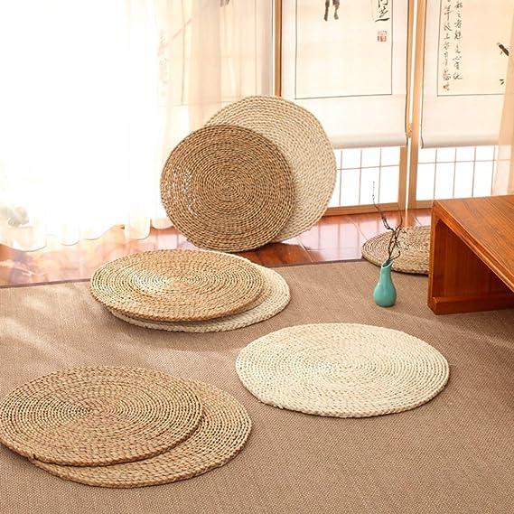D/&LE Tondo Paglia Futon Cuscini Giapponese da Terra Tappetino Realizzata A Mano Eco-Friendly Traspirabilit/à Cuscini per Sedia per Zen Pratica Yoga Meditazione-Marrone W20xh1.5cm