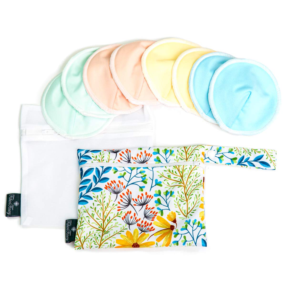Fishers Finery Nursing Bra Pads Washable Reusable Leak Proof All Day Night(Set) by Fishers Finery