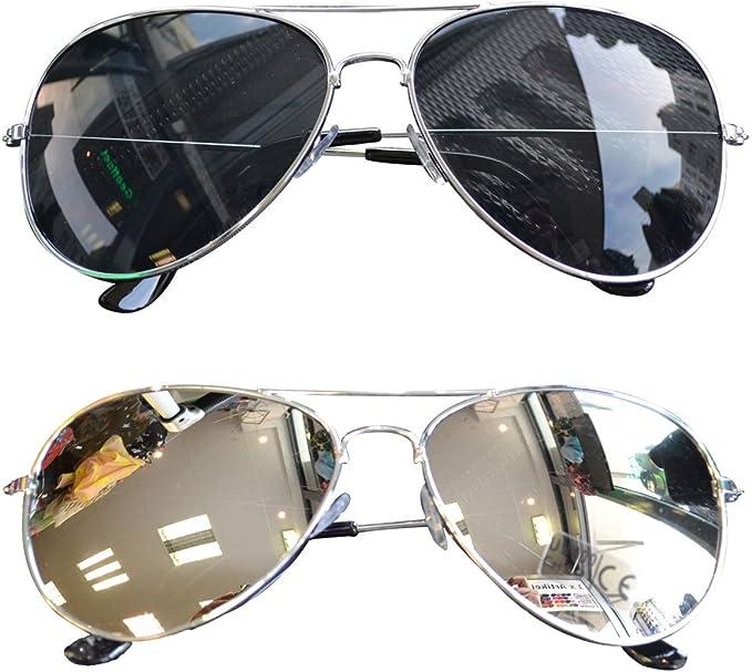 Sonnenbrille Pilotenbrille Verspiegelt Fliegerbrille Retro Aviator Brille Gold