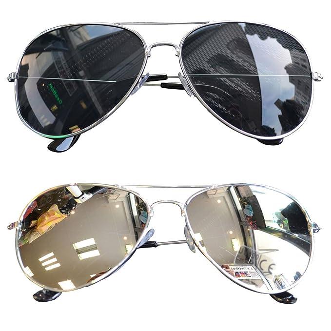 elegante Schuhe Luxus Top Marken easy4fashion myfashionist 2 Stück Pilotenbrille Aviatorbrille Portobrille  Sonnenbrille Brille verspiegelt