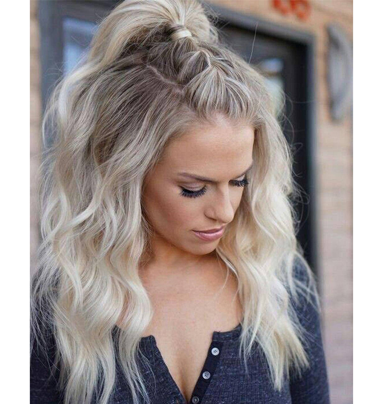 Vedar 2018 Summer Style Flawless- Wob Hair (Wavy Bob Hair) Dirty Blonde Hair Dark Rooted Blonde Lace Front Wigs for Women (Loose Curl 18 inches)