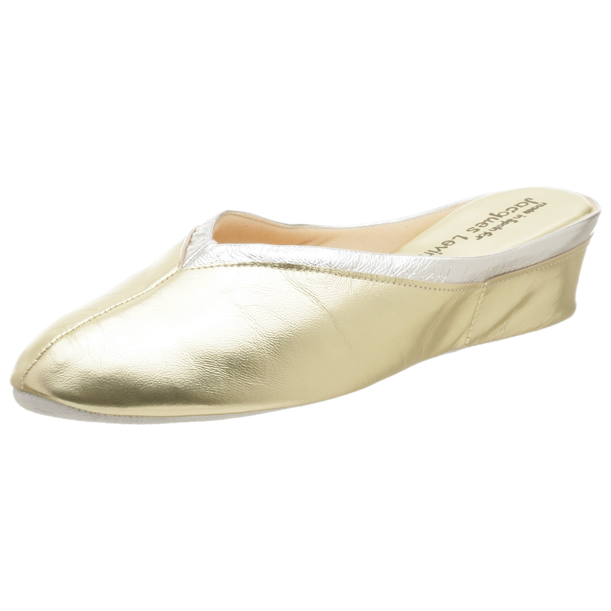 Jacques Levine Women's 4640 Throat Collar Scuff Slipper,Gold/Silver,7 M by Jacques Levine