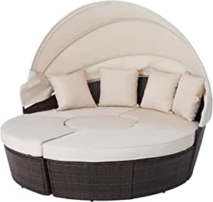 VONLUCE 5pc Modular Wicker Outdoor Sectional Sofa Set with Daybed and Central Stool, Patio Furniture Set with Rattan Daybed or 4 Chairs, Round Table, Retractable Canopy, Pillows, Cover, Beige