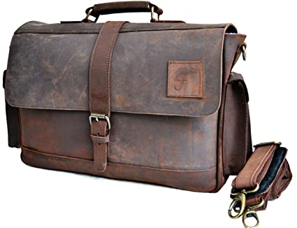4cf57a31fb48 Image Unavailable. Image not available for. Color  15 quot  Large Dark Leather  Bag for Men Messenger Bag Shoulder Bag Mens Laptop ...