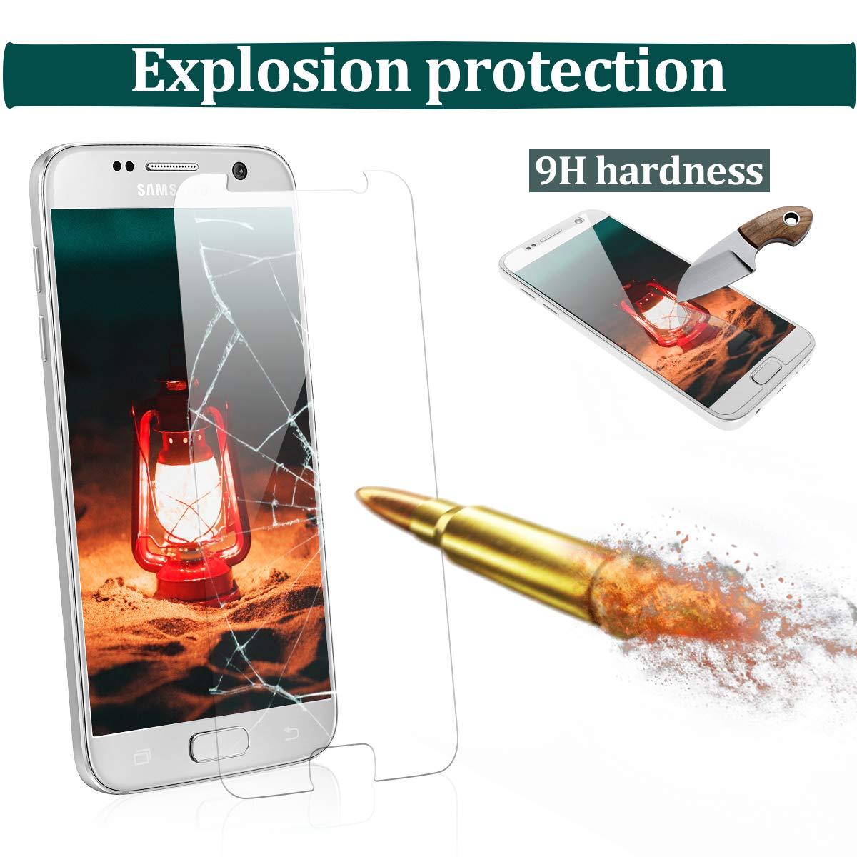 CRXOOX Protector de Pantalla para Samsung Galaxy S7, [3 Unidades], Anti-Aceite, Arañazos, Ampollas y Huellas Dactilares, HD, Dureza 9H, 0.33 mm: Amazon.es: ...