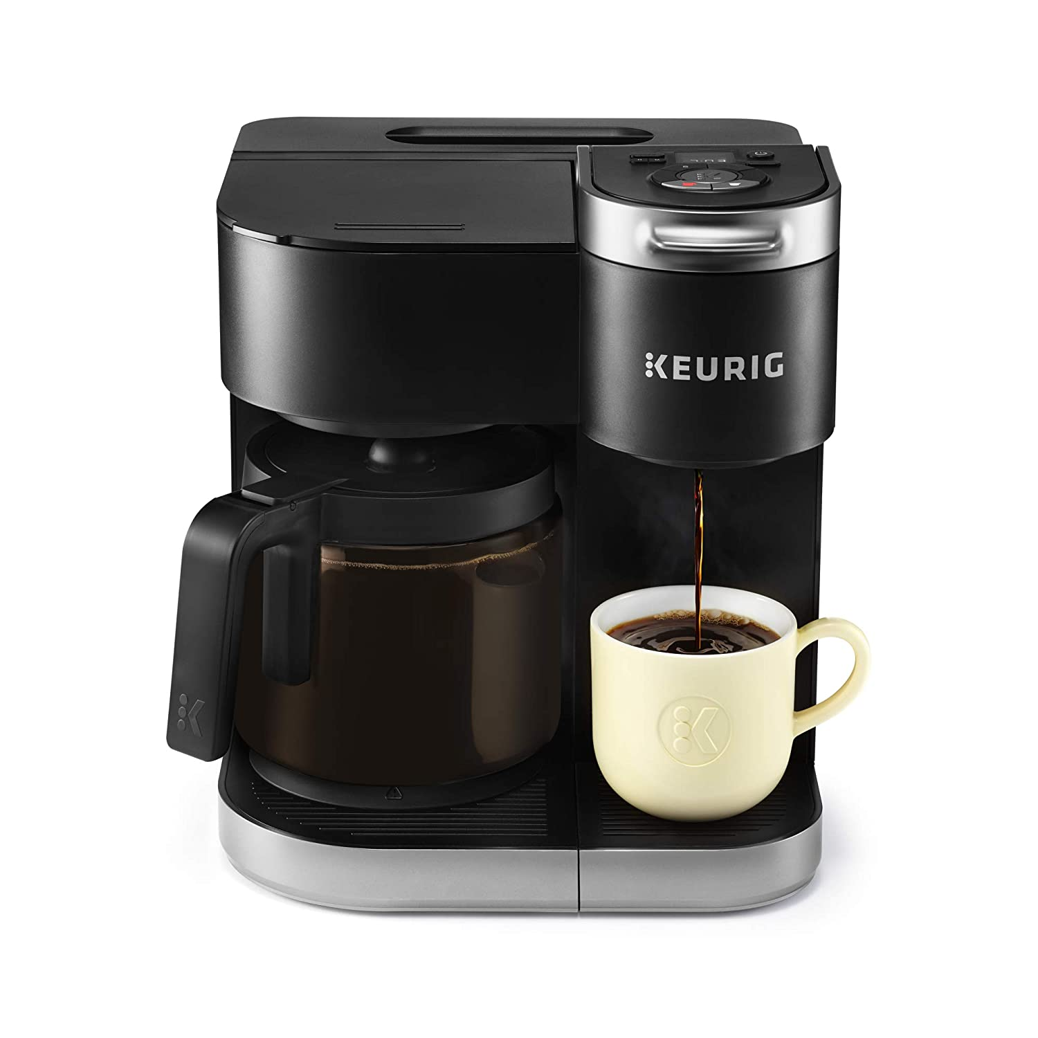 Keurig K-Duo Coffee Maker, Single Serve and 12-Cup Drip Coffee Brewer, Compatible with K-Cup Pods and Ground Coffee, Black