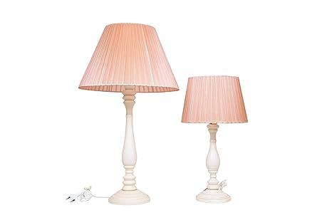 Set Abat Rose Bois Lume De GrandPetit Lampe Ivoire Jour Table mNn8vwO0
