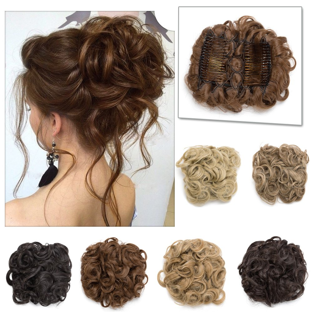 Elailite Messy Curly Combs Hair Bun Extensions Easy Stretch Hair