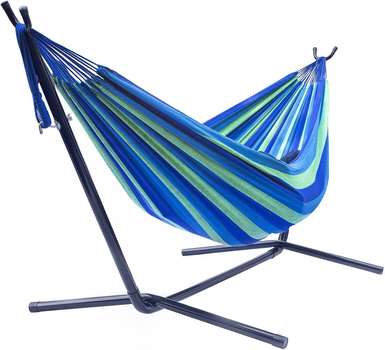 Sorbus Double Hammock with Steel Stand Two Person Adjustable Hammock Bed - Storage Carrying Case Included Blue Green