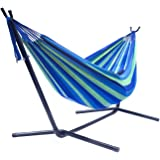 Sorbus Double Hammock with Steel Stand Two Person Adjustable Hammock Bed - Storage Carrying Case Included (Blue/Green)