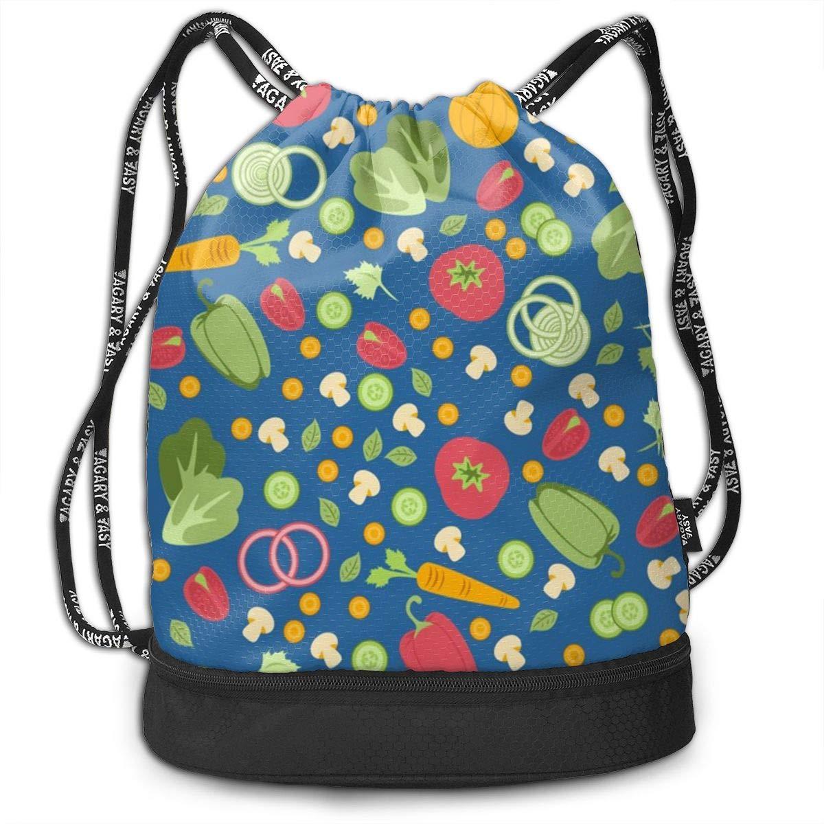 HUOPR5Q Vegetables Drawstring Backpack Sport Gym Sack Shoulder Bulk Bag Dance Bag for School Travel