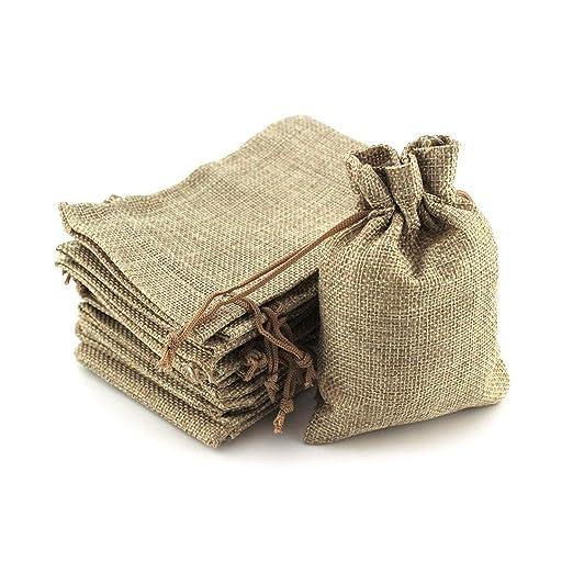 Ruby - 100 bolsitas Saco de Yute, Bolsas de Regalo, bolsitas de Tela Bolsas Yute para Joyas, Bolsas de arpillera con cordón, Saco Navidad, Saco ...