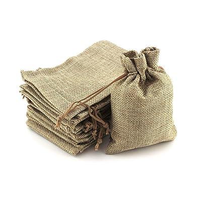 RUBY - 100 Bolsas de Regalo, bolsitas de Tela Bolsas Yute para Joyas, Bolsas de arpillera con cordón
