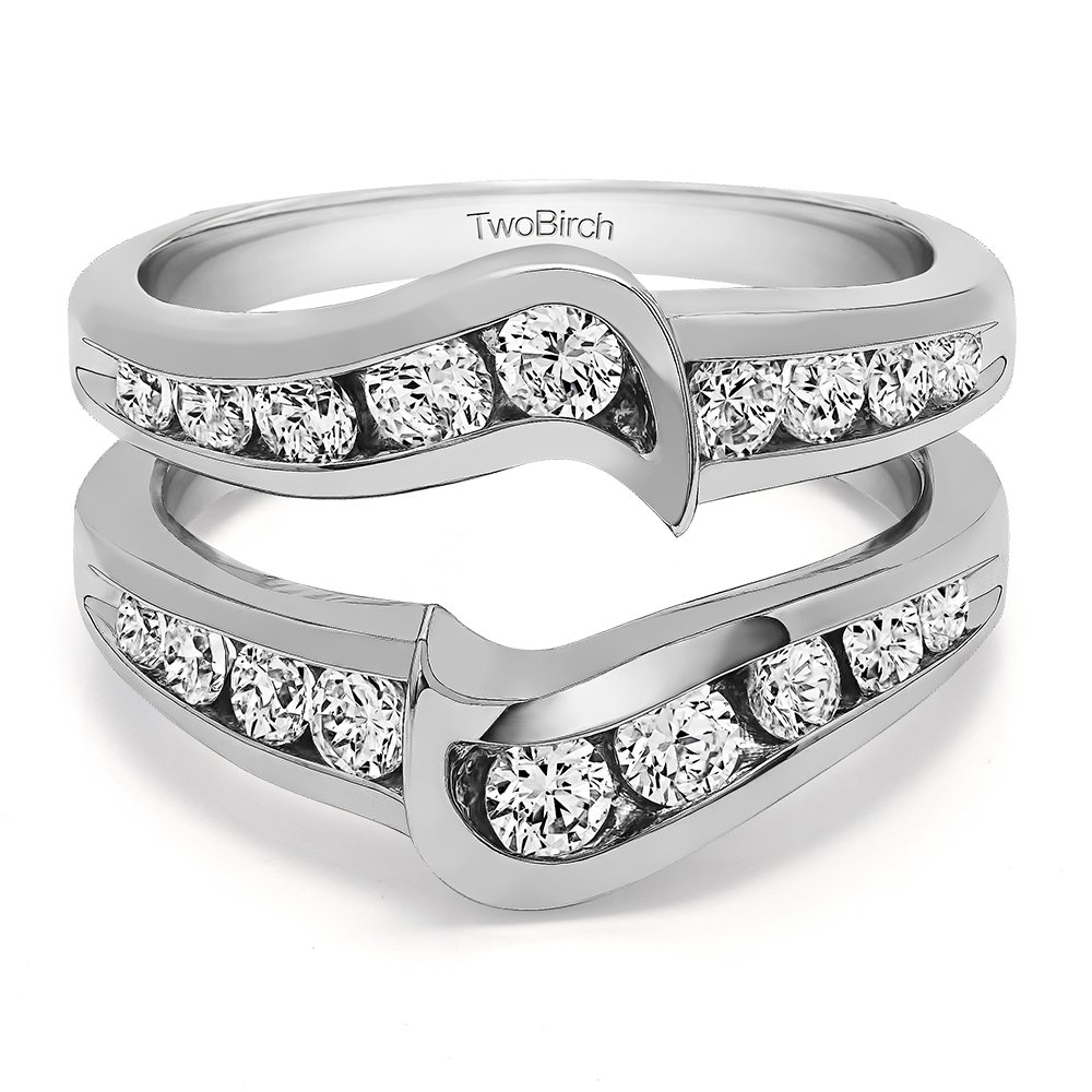 TwoBirch 0.27 Ct. Channel Set Knott Chevron Ring Guard in Sterling Silver with Diamonds (G,I2) (Size 7.5) by TwoBirch