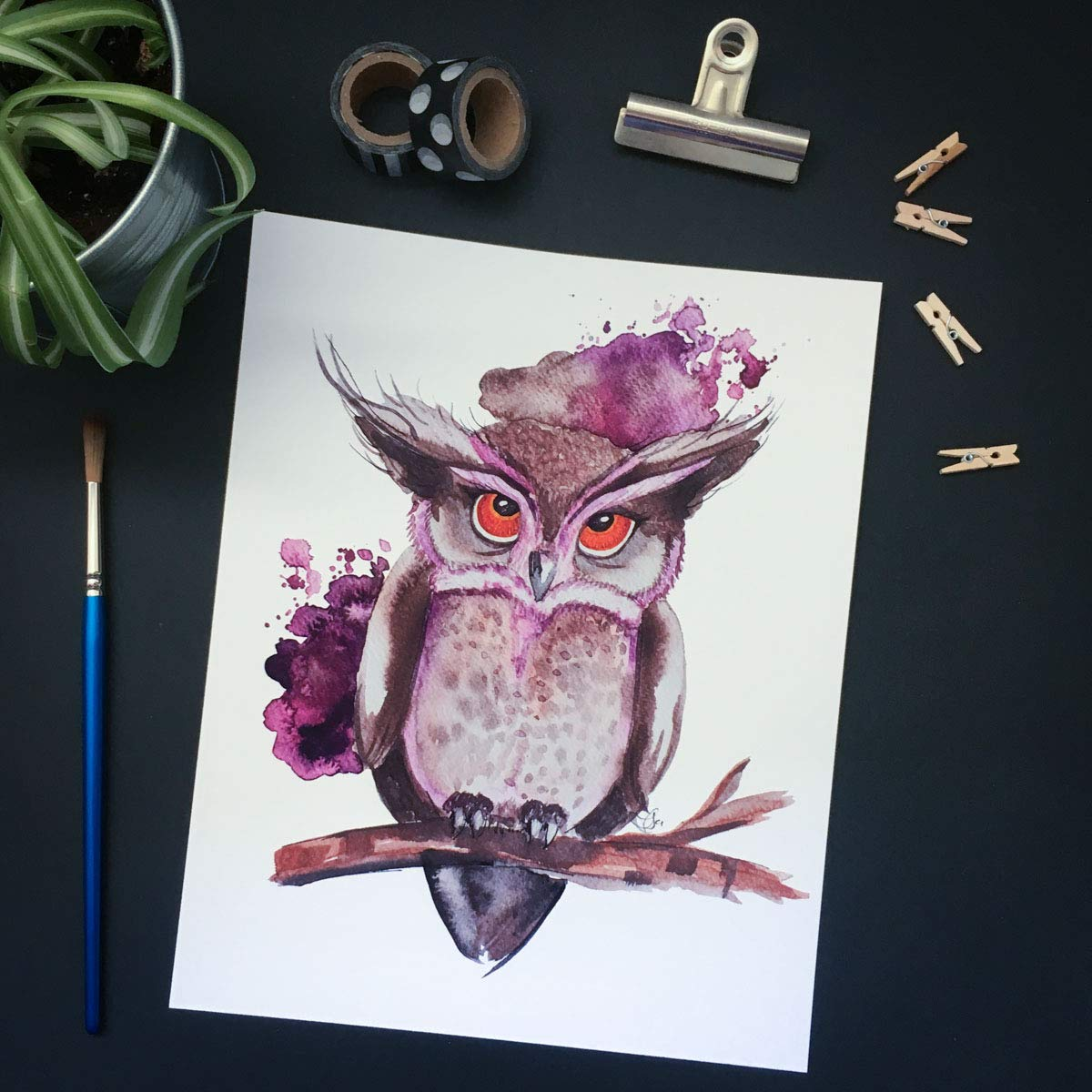 Owl Bird of Prey Drawing Painting Watercolour Home Decor Art Poster Print