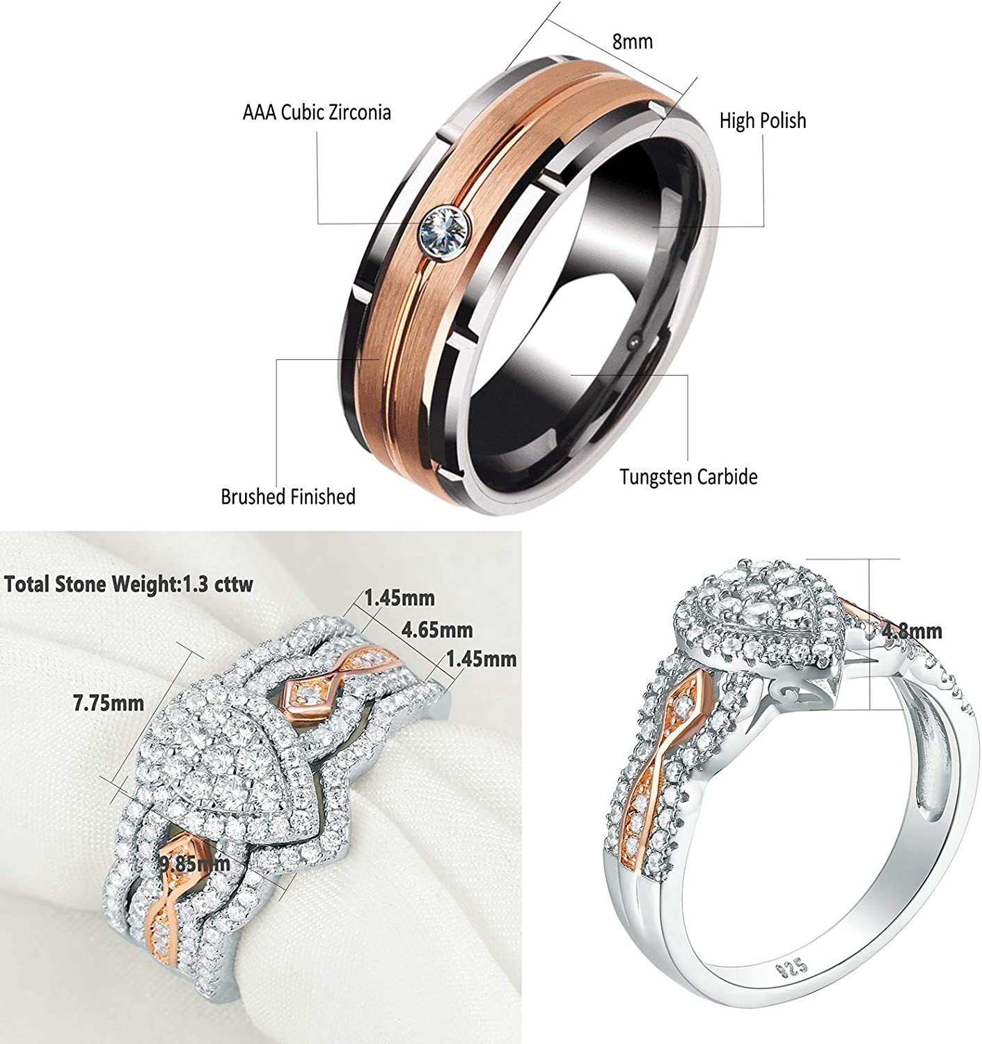Newshe Wedding Rings Set for Him and Her Women Mens Tungsten Bands Sterling Silver Cz Rose Gold 5-13