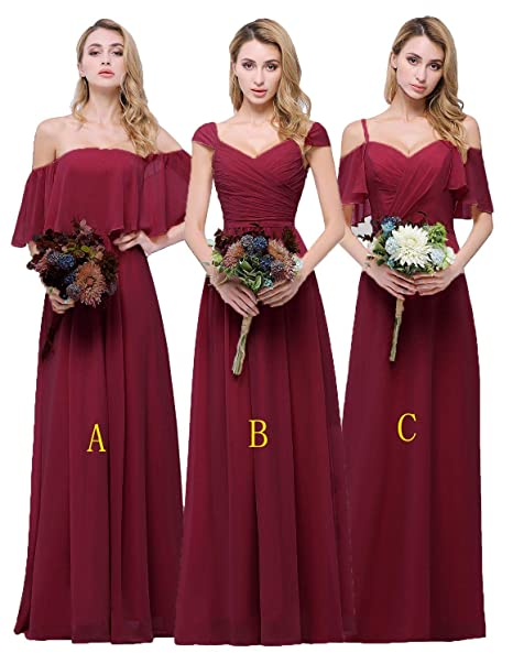 7d8666d4908e CLOTHKNOW Chiffon Bridesmaid Dresses Long Burgundy Off The Shoulder Ruffles