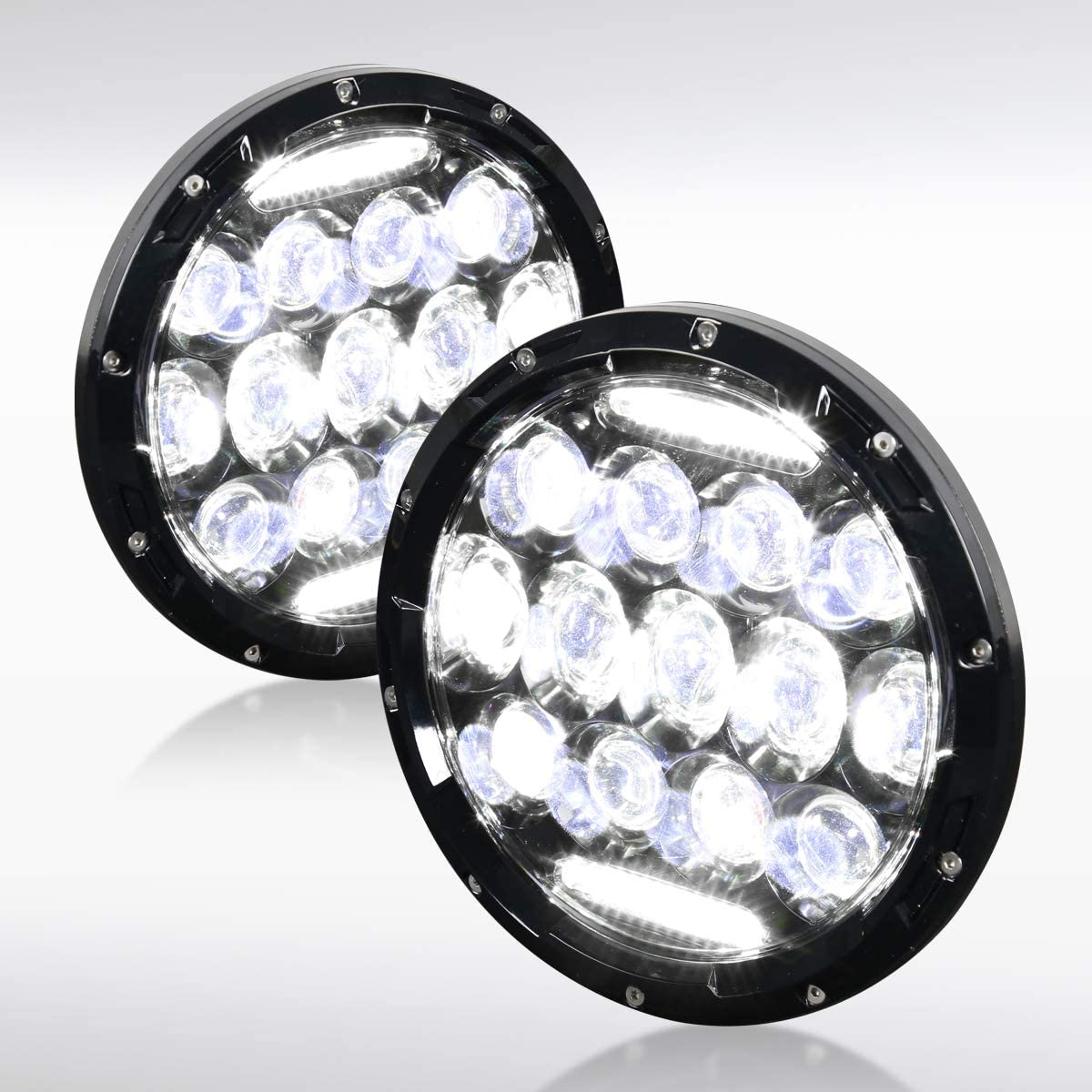 """Autozensation For H4/H13 75W 6500K 7"""" Round LED Headlights Clear Lens For Jeep Wrangler Pair"""